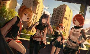 Rating: Safe Score: 88 Tags: animal_ears arknights black_hair blonde_hair brown_eyes building cape chain city clouds croissant_(arknights) exusiai_(arknights) fang gloves green_eyes group halo horns long_hair navel orange_hair pantyhose red_eyes red_hair ruins short_hair shorts skirt sky sora_(arknights) tagme_(artist) texas_(arknights) thighhighs tie twintails wings User: otaku_emmy