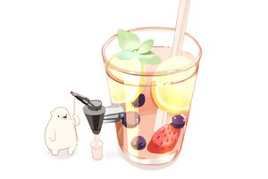 Rating: Safe Score: 8 Tags: animal bear chai_(artist) drink food fruit leaves nobody original polychromatic signed strawberry white User: otaku_emmy