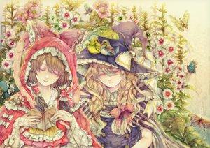 Rating: Safe Score: 60 Tags: 2girls animal bird book butterfly flowers hakurei_reimu hoodie kirisame_marisa lolita_fashion touhou witch yogisya User: HawthorneKitty