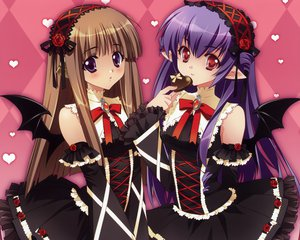 Rating: Safe Score: 107 Tags: 2girls brown_hair carnelian elf heart lolita_fashion long_hair original purple_eyes purple_hair red_eyes tail valentine wings User: Wiresetc