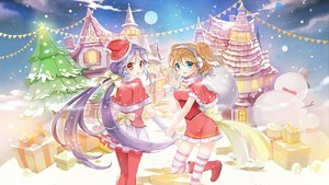 Rating: Safe Score: 31 Tags: 2girls blonde_hair blue_eyes bow building cape christmas clouds earmuffs elbow_gloves gloves hat long_hair original pantyhose santa_hat short_hair sibyl skirt sky snow snowman stairs thighhighs tree twintails User: RyuZU