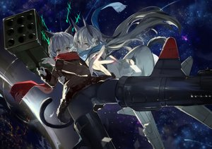 Rating: Safe Score: 75 Tags: 2girls blonde_hair eila_ilmatar_juutilainen gray_eyes long_hair saberiii sanya_v_litvyak scarf short_hair strike_witches tail white_hair User: Flandre93