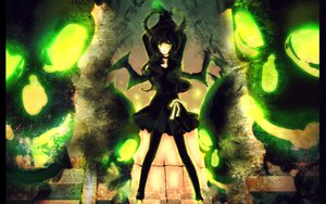 Rating: Safe Score: 54 Tags: black_hair black_rock_shooter dark green_hair ribbons takanashi_yomi wings User: Maboroshi