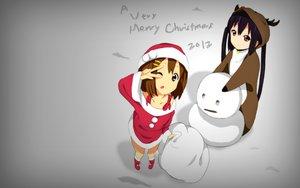 Rating: Safe Score: 91 Tags: black_hair brown_eyes brown_hair christmas hirasawa_yui kaiman k-on! long_hair nakano_azusa photoshop santa_costume short_hair snow snowman twintails User: TITaN4709