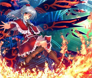 Rating: Safe Score: 42 Tags: blue_hair blush boots eho_(icbm) fire red_eyes ribbons shinki skirt touhou wings User: w7382001
