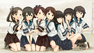 Rating: Safe Score: 62 Tags: abe_kanari anthropomorphism ayanami_(kancolle) black_eyes black_hair blush braids brown_eyes brown_hair fubuki_(kancolle) group hatsuyuki_(kancolle) isonami_(kancolle) kantai_collection long_hair miyuki_(kancolle) school_uniform shikinami_(kancolle) shirayuki_(kancolle) short_hair skirt socks wink User: gnarf1975