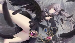 Rating: Questionable Score: 52 Tags: apple228 ass building dress elbow_gloves feathers gloves gothic gray_hair long_hair nopan original purple_eyes twintails wings User: BattlequeenYume
