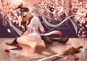 Rating: Safe Score: 91 Tags: 2girls barefoot black_hair cherry_blossoms clouble gray_hair petals ponytail sword weapon User: FormX