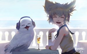 Rating: Safe Score: 32 Tags: animal bird blonde_hair drink green_hair headphones kezhou owl short_hair signed touhou toyosatomimi_no_miko wristwear User: sadodere-chan