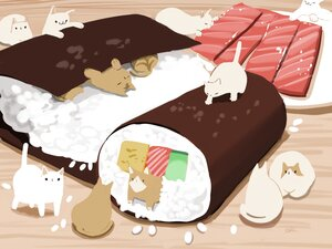 Rating: Safe Score: 13 Tags: animal cat chai_(artist) food nobody original signed User: otaku_emmy