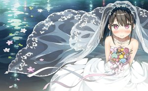 Rating: Safe Score: 122 Tags: black_hair dress flowers jpeg_artifacts kantoku long_hair necklace original petals pink_eyes ponytail ribbons shizuku_(kantoku) short_hair wedding_attire User: RyuZU