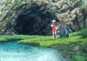 Rating: Safe Score: 10 Tags: black_eyes black_hair boots dress empoleon grass hat hikari_(pokemon) kneehighs pippi_(pixiv_1922055) pokemon scarf scenic short_hair water User: RyuZU