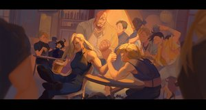 Rating: Safe Score: 39 Tags: alex_louis_armstrong alphonse_elric animal bandage black_hair black_hayate blonde_hair blue_eyes boots braids crying dog drink edward_elric fullmetal_alchemist gray_hair group hanromi ling_yao long_hair male maria_ross may_chang miles_(fma) olivier_mira_armstrong ponytail riza_hawkeye roy_mustang shirt tears User: otaku_emmy