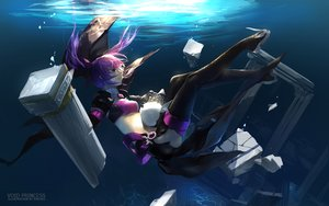 Rating: Safe Score: 131 Tags: aisha_(elsword) elsword ruins swd3e2 thighhighs twintails underwater water User: Flandre93
