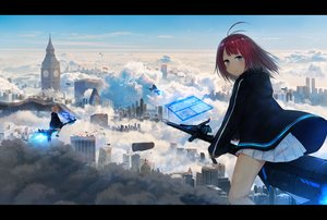 Rating: Safe Score: 14 Tags: airship aqua_eyes brown_hair building city clouds hoodie original red_hair scenic short_hair skirt sky tagme_(artist) User: RyuZU