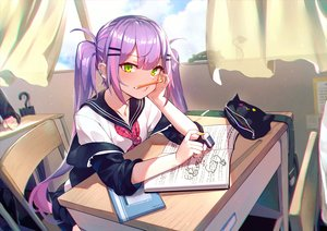 Rating: Safe Score: 79 Tags: book green_eyes hololive long_hair mr.lime purple_hair school_uniform tokoyami_towa twintails User: BattlequeenYume