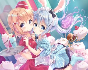 Rating: Safe Score: 63 Tags: 2girls animal_ears apron blonde_hair blue_eyes blue_hair blush bunny_ears bunnygirl cherry dress drink food fruit gochuumon_wa_usagi_desu_ka? hat headdress hoto_cocoa kafuu_chino long_hair maid neki_(wakiko) orange_hair purple_eyes short_hair tippy_(gochuumon_wa_usagi_desu_ka?) twintails waitress User: BattlequeenYume