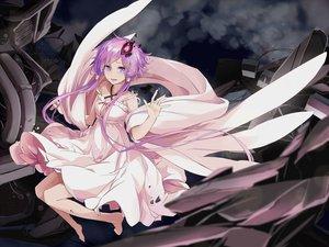 Rating: Safe Score: 90 Tags: barefoot dress long_hair purple_eyes purple_hair tears toromera twintails vocaloid yuzuki_yukari User: Flandre93