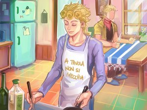 Rating: Safe Score: 15 Tags: all_male apron blonde_hair dio_brando fang giorno_giovanna jojo_no_kimyou_na_bouken male tagme_(artist) translation_request User: otaku_emmy