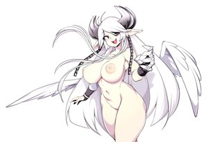 Rating: Questionable Score: 29 Tags: armor black_eyes breasts chain eyepatch fang gloves horns long_hair nipples nude original pointed_ears polychromatic slugbox weapon white white_hair wings User: otaku_emmy