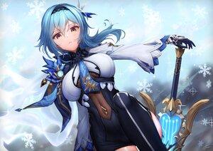 Rating: Safe Score: 115 Tags: aliasing aqua_hair dress eula_lawrence genshin_impact signed snow sword weapon xfate User: BattlequeenYume