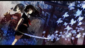 Rating: Safe Score: 166 Tags: black_hair butterfly gray_eyes japanese_clothes kimono long_hair navel seifuku short_hair sword tagme tie tiv torii tree weapon User: winternightt