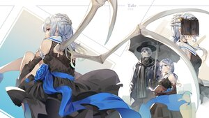 Rating: Safe Score: 47 Tags: blue_eyes book dress gothic gray_hair ji_dao_ji long_hair original skull twintails umbrella wings User: BattlequeenYume