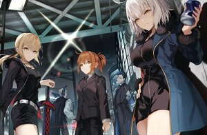 Rating: Safe Score: 31 Tags: artoria_pendragon_(all) blonde_hair blue_eyes blue_hair brown_eyes brown_hair building city fate/grand_order fate_(series) fujimaru_ritsuka_(female) gloves group jeanne_d'arc_alter jeanne_d'arc_(fate) male mocha_(mokaapolka) night ribbons saber saber_alter sherlock_holmes_(fate) short_hair shorts sword weapon white_hair yellow_eyes User: Maboroshi