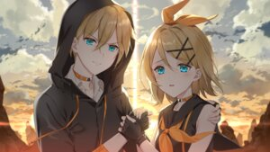 Rating: Safe Score: 7 Tags: aqua_eyes blonde_hair blush clouds elbow_gloves gloves kagamine_len kagamine_rin short_hair sky sunset vocaloid User: Maboroshi