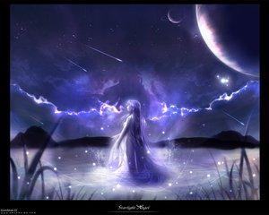 Rating: Safe Score: 34 Tags: blue clouds long_hair space stars water User: Oyashiro-sama