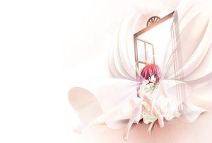 Rating: Safe Score: 18 Tags: barefoot bow clover_studio dress purple_eyes red_hair ribbons sayorana_etranger sou_amane white User: Oyashiro-sama