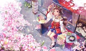 Rating: Safe Score: 28 Tags: bow brown_hair cat_smile cherry_blossoms drink fang flowers food japanese_clothes kimono original petals purple_eyes ryuu32 short_hair socks tail umbrella wink User: RyuZU