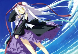 Rating: Safe Score: 59 Tags: dress hoshizora_no_memoria long_hair mare_s_ephemeral scan shida_kazuhiro sky white_hair yellow_eyes User: Wiresetc