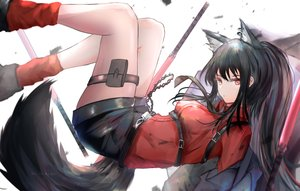 Rating: Safe Score: 36 Tags: animal_ears arknights black_hair garter garter_belt kayjae long_hair ponytail shirt shorts tail texas_(arknights) tie watermark User: BattlequeenYume