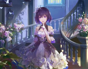 Rating: Safe Score: 92 Tags: a-m-one butterfly cage cropped dress flowers gloves honkai_impact purple_eyes purple_hair seele_vollerei short_hair stairs User: BattlequeenYume