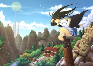 Rating: Safe Score: 73 Tags: all_male bellezza_felutia black_hair building clouds felutiahime long_hair male necklace original red_eyes sky torii trap tree watermark User: CgGirl