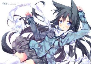 Rating: Safe Score: 172 Tags: animal_ears black_hair blue_eyes ech foxgirl long_hair original scarf skirt tail thighhighs zettai_ryouiki User: Flandre93