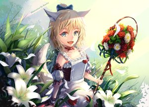 Rating: Safe Score: 43 Tags: animal_ears apron blade_&_soul blonde_hair bow dress fang flowers petals resau short_hair tagme_(character) tail watermark wings User: RyuZU
