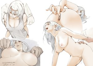 Rating: Explicit Score: 108 Tags: anal anthropomorphism anus breasts headband kantai_collection long_hair navel nipples no_bra nude pubic_hair pussy_juice sex shoukaku_(kancolle) signed white_hair windforcelan wink User: BattlequeenYume