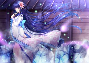 Rating: Safe Score: 103 Tags: bow fan flowers japanese_clothes kimono long_hair original purple_hair toshi yellow_eyes User: Flandre93