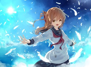 Rating: Safe Score: 67 Tags: anthropomorphism blush brown_eyes brown_hair clouds feathers hamaru_(s5625t) inazuma_(kancolle) kantai_collection long_hair school_uniform sky User: Flandre93