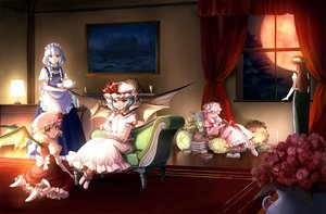 Rating: Safe Score: 42 Tags: blue_hair dress flandre_scarlet hat hong_meiling izayoi_sakuya long_hair maid moon patchouli_knowledge red_eyes red_hair remilia_scarlet ribbons short_hair touhou white_hair wings User: Tensa