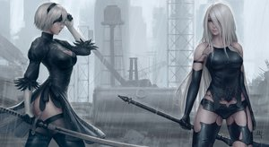 Rating: Safe Score: 243 Tags: 2girls breasts elbow_gloves gloves gray_hair green_eyes headband long_hair mirco_cabbia nier nier:_automata rain realistic short_hair shorts signed sword thighhighs water watermark weapon yorha_unit_no._2_type_a yorha_unit_no._2_type_b User: RyuZU