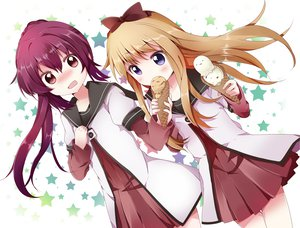Rating: Safe Score: 103 Tags: 2girls blonde_hair bow food ice_cream mishima_kurone purple_hair school_uniform stars sugiura_ayano toshinou_kyouko yuru_yuri User: opai