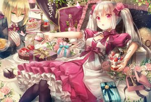Rating: Safe Score: 36 Tags: blonde_hair bow cake chocolate dress drink flowers food fruit gloves gray_hair green_eyes long_hair maid original pink_eyes short_hair twintails yumeichigo_alice User: RyuZU