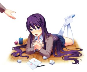 Rating: Safe Score: 26 Tags: blush doki_doki_literature_club! kneehighs long_hair paper purple_eyes purple_hair seifuku skirt tagme_(artist) yuri_(ddlc) User: BattlequeenYume