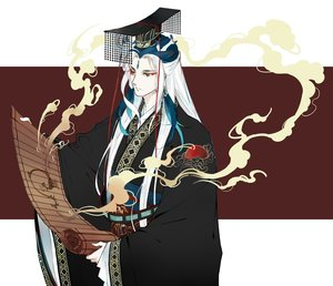 Rating: Safe Score: 20 Tags: all_male chinese_clothes fate/grand_order fate_(series) headdress long_hair male qin_shi_huang red_eyes tagme_(artist) white_hair User: otaku_emmy