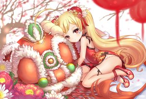 Rating: Safe Score: 84 Tags: anthropomorphism azur_lane blonde_hair bonury chinese_clothes chinese_dress dress eldridge_(azur_lane) flowers loli long_hair red_eyes twintails User: BattlequeenYume