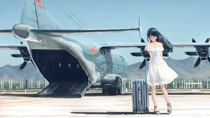 Rating: Safe Score: 70 Tags: aircraft black_hair dress hallelujah_zeng long_hair original summer_dress User: mattiasc02