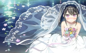 Rating: Safe Score: 97 Tags: black_hair dress flowers kantoku long_hair necklace petals photoshop pink_eyes ponytail ribbons scan short_hair wedding_attire User: Dummy